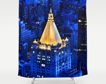 New York Life Building Shower Curtain, Manhattan Shower Curtain, Landscape, Urban, Bathroom, Modern, Blue Home Decor, Photography, City