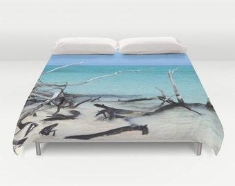 Beach Duvet Cover, Ocean Decorative bedding, unique design, Nautical comforter cover, Aqua Blue bedroom,Surf, Water, Ocean Blue, Calm Waters