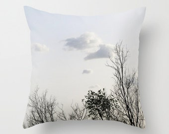 Tree Pillow Cover, Home Decor, Interior Design, Nature Landscape, Accent Piece, Trees Pillow, Sky, Cloud Pillow, Cloudy Sky, Woods, Branches