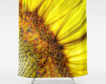 Sunflower Shower Curtain, Yellow Bathroom, Sunflower Home Decor, Whimsy Photo Shower Curtain, Nature Home Decor, Vibrant, Bold, Flower Decor