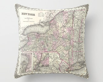 Antique New York Map Throw Pillow, Vintage Map Outdoor Pillow, Old New York Map Patio Decorative Pillow,Office Pillow,Office Decor,Geography