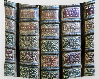 Old Books Tapestry, Antique Book Tapestry, Book Large Wall Decor, Library, Dorm Tapestry, Office Decor, Office Tapestry, Gold, Leather Book