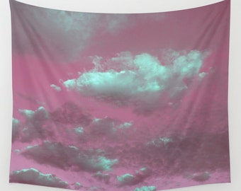 Pink Sky Wall Tapestry, Pink Sky Mint Clouds Tapestry, modern home decor, nature, fine art, photography, inspirational, dreamy, Cloudy Sky