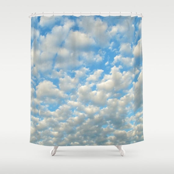 POPCORN CLOUDS Shower Curtain, Cloud Bathroom, Ocean Blue White Home Decor, Cloudy Sky Shower Curtain, Nature Home Decor, Whimsical, Surf