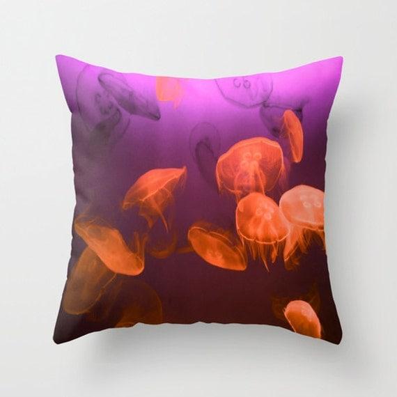 MOON Jellyfish Throw Pillow, Coastal, Ocean Decor, Patio, Decorative Pillow, Nature Cushion, Nautical Pillow, Surf, Underwater,Red, Purple
