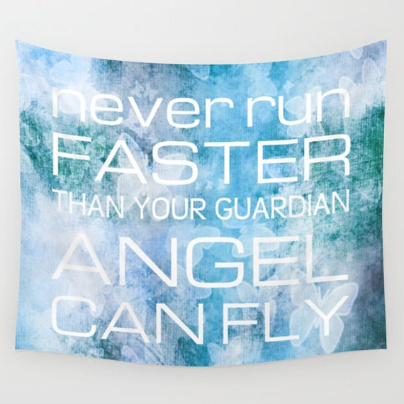 GUARDIAN ANGEL Quotation Tapestry, Blue Wall Tapestry, Blue Lilac Home Decor, Modern, Text Art, Word, Inspirational, Dreamy, Dorm, Butterfly