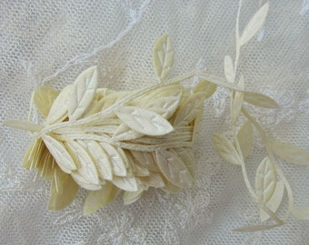 3 yds YELLOW leaf trim on a vine great for scrapbooking quilts clothing holiday bridal