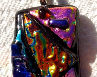 MODERN ART Fused Glass Multicolored PENDANT