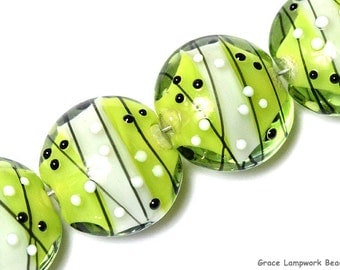 Four May Day Party Lentil Beads - Handmade Glass Lampwork Bead Set 10506912