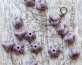 Baby Bell Glass Flower Beads - Lilac Purple - Set of 15 Beads - DESTASH - RESERVED