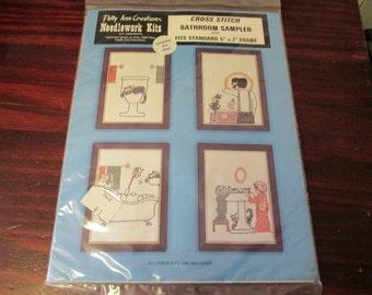 Counted Cross Stitch Kit Bathroom Sampler Patty Ann Cross Stitching Kit 234 Vintage Sealed Kit