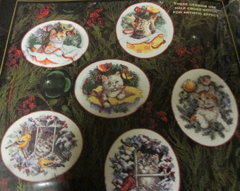 Dimensions Gold Collection Counted Cross Stitch Christmas Kitty Keepsake Ornaments 8730 Martha Edwards Very Rare Kit
