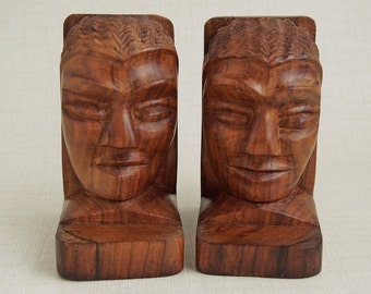 Sale ... was 75 ... now 65 ... Antique Mid Century FIGURAL ROSEWOOD BOOKENDS HaND CaRVeD Male Female Near Fine