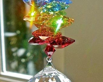 "Window Prism Swarovski Crystal Sun Catcher, Made Entirely With Swarovski Crystals, 30mm Crystal Ball with Rainbow Octagons - ""NAMASTE"""