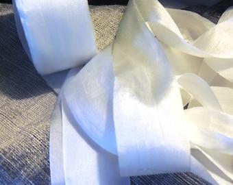 "100% silk ribbon 1 1/4"" wide white - one yard"