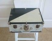 Vintage Black White Metal Case Roller Skates Retro Industrial Suitcase