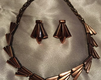 Vintage 50s Renoir Copper Necklace & Earrings