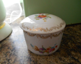 Vintage porcelain Shabby Chic Round Trinket Box white with flowers on it Made in Germany