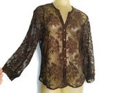 Brown Lace Blouse, See Through Lace Shirt, Vintage Brown Blouse, Faux Button Down, Long Sleeve Chocolate Brown Floral Lace Top, Pretty M L