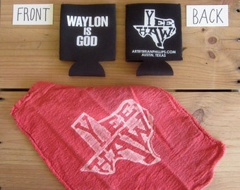 WAYLON IS GOD Cold Beer Can Coolie shop rag Combo Art by Brian Phillips