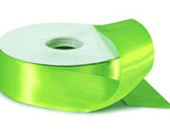 """5 yards of 2-1/4"""" Double Face Satin - Apple Green  or Your Choice of 17 colors"""