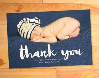 Thank you photo card, Script, Typography, Custom Baby Announcement, Printable, Custom Photo Card