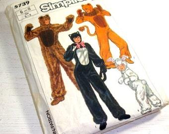 Vintage Halloween Costumes Pattern, Animal, Cat, Lion, Bear, Adult, Boys, Girls, Size 6-8, Sewing Pattern Simplicity 5739, 1985  (790-15)