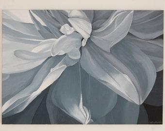 White Dahlia Painting - Monochromatic Gray Black & White Botanical Flower Floral Wall Art