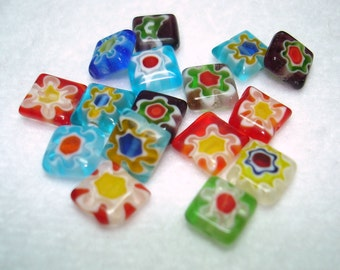 Colorful Handmade Millefiori Square Glass Beads (Qty 16) - B2888