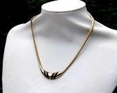 Slinky Gold Choker Black Enamel Necklace