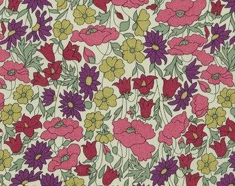 Poppy and Daisy in Purple Liberty of London tana lawn fabric FQ