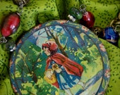 Little Red Riding Hood-Antique Nursery Rhyme Theme Childs Lithograph Tea Set Plate Assemblage Necklace