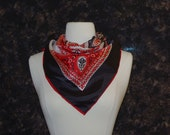 Red and Blue Bandana Print Scarf - Red and Blue Novelty Print Scarf - Red White and Blue Square Bandana Print Scarf