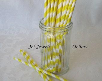 25 Paper Straws, Yellow Straws, Stripe Paper Straws, Farm Party, Backyard Barbecue, Cake Pop Sticks, Mason Jar Straws, Vintage Style
