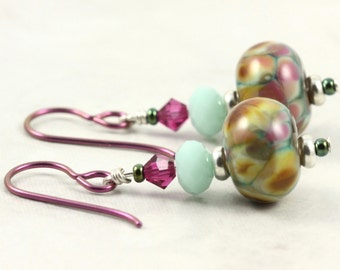 Multicolor Lampwork Earrings with Mint Green and Pink Crystal Fuchsia Niobium Ear Wires Hypoallergenic Earrings Brown Dangle Fall Jewelry