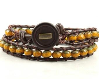 Pumpkin Bracelet Beaded Bracelet Brown Leather Wrap Bracelet Bohemian Jewelry Burnt Orange Hippie Bracelet Leather Jewelry Autumn Fashion