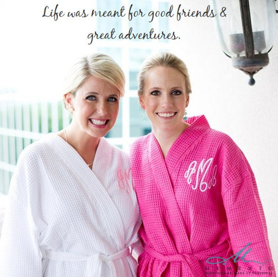 Monogrammed Hot Pink Bridesmaid Robes, SALE, Bridesmaid Robes, Spa Robes, Bridesmaid Gifts, Gifts for Her, Bridal Party Gifts, Waffle Robes