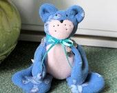 Blue fleece beanie teddie bear,room decoration,blue beanie teddy bear,blue teddy bear, blue teddy,eco friendly,plush toy,blue bear,blue