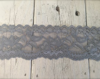 WIDE Stretch Lace DARK GRAY-no. 399-2 inch -2, 5, or 10 yard increments