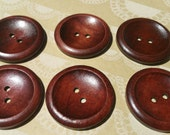 "Large Wood Buttons - Big Wooden Button - Bulk Buttons Sewing - 1 9/16"" - 6 Buttons"