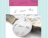 "Handwriting Jewelry -  Loved Ones Handwriting on a Fine Silver 1"" Pendant - Customized Jewelry - Signature Necklace - Personalized Charm"