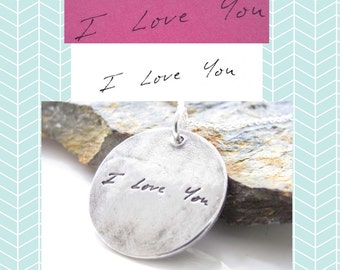 """Handwriting Jewelry -  Loved Ones Handwriting on a Fine Silver 1"""" Pendant - Customized Jewelry - Signature Necklace - Personalized Charm"""