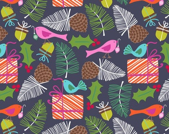 Mistletoe Navy Treelicious from Blend Fabrics - Available in Yards, Half Yards, Fat Quarters