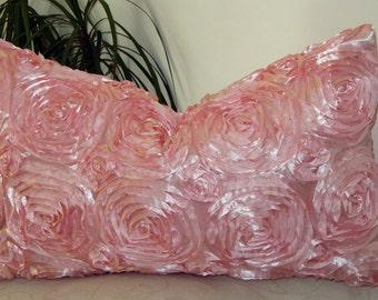 "Pink Satin Ribbon Rosette/Rose - Purple Satin Ribbon Pillow Cover 12""x22"" - 18""x18"" -12""x24"" - Pink Pillow Case - Invisible Zipper"