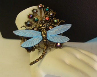 Dragonfly Vintage Cuff, Gorgeous Iridescent, Unique Jeweled Dragonfly Bracelet Cuff, Built Upon A Vintage Hinged Cuff, Handmade By Tina, USA