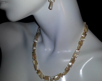 Mother of Pearl Square Beaded Necklace Set