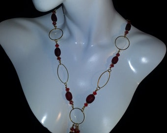 Red Recycled Glass Modern Chain
