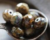 MARSH .. 10 Premium Picasso Czech Glass Beads 6x8mm (4663-10)