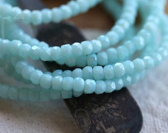 BABY BLUES .. 50 Czech Glass Rondelle Beads 2x3mm (4221-st)