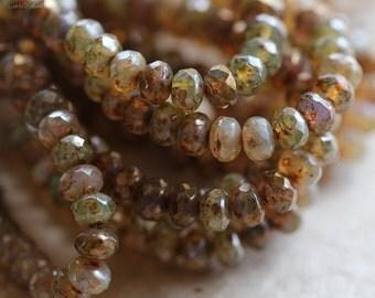 DESERT MIX BITS No. 2 .. 30 Premium Picasso Mix Czech Rondelle Beads 3x5mm (4260-st)